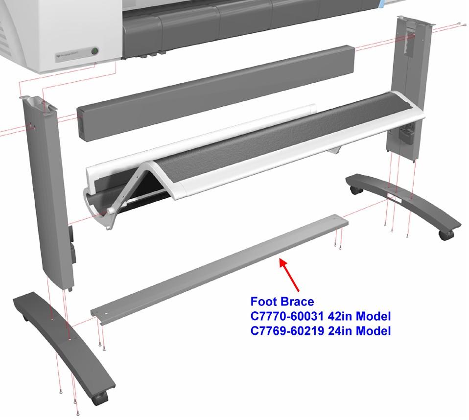 C7770-60031 DesignJet 500 / 800 Foot Brace