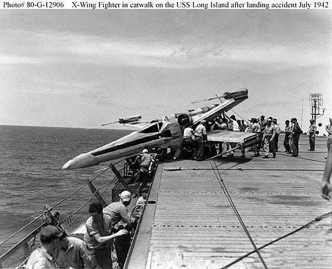 X wing fighter landing accident aboard USS Long Island.