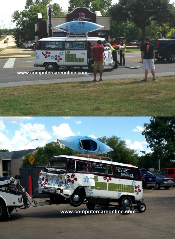Accident VW microbus and pickup, Harvey Road at George Bush Drive East, College Station, TX 2pm Sunday Sept. 8th 2013