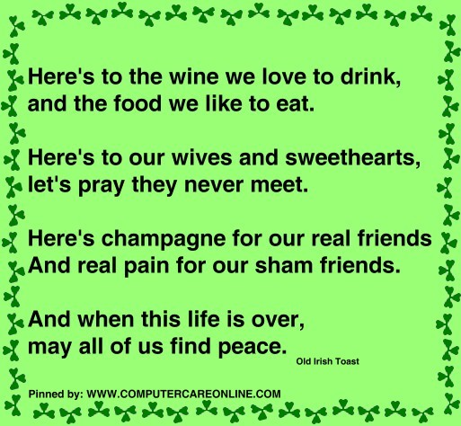 Here's to the wine we love to drink, and the food we like to eat. Here's to our wives and sweethearts, let's pray they never meet.